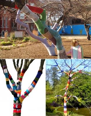 Еще деревья, которые стали объектами уличного вязания