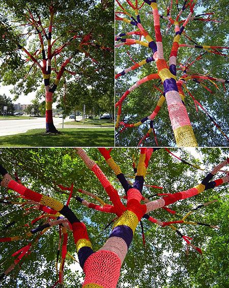 Вязаное граффити: дерево в трикотажной одежке