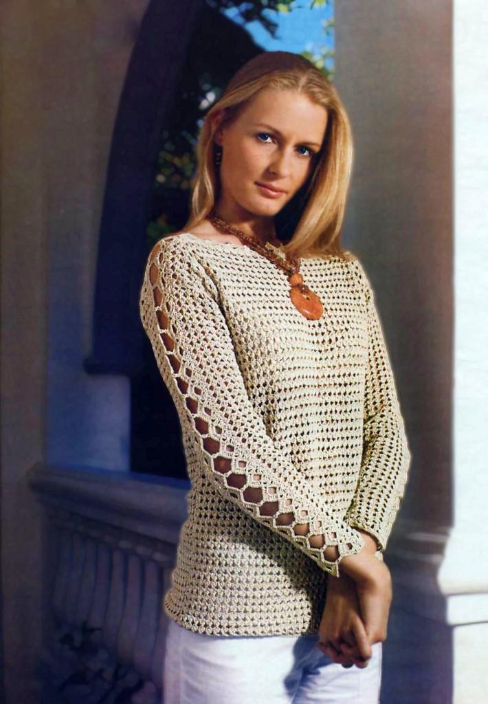 Как связать крючком женский свитер видео