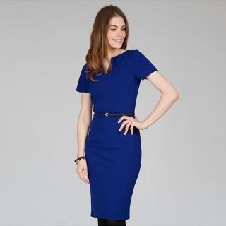 платье синего цвета с поясом