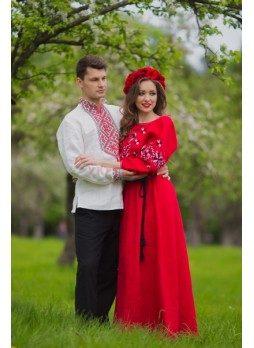 Чоловіча вишиванка і жіноча сукня в національному стилі фото