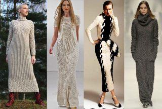 вязаное платье теплое