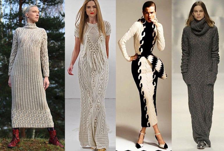 Вязанные платья на осень и зиму